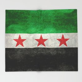 Syrian independence flag, vintage style Throw Blanket