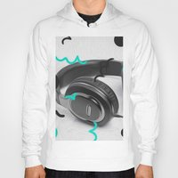 headphones Hoodies featuring Headphones by Oliver Green