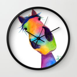 Happy Horse ' HaPPY G & T ' by SHiRLeY MacArTHuR Wall Clock