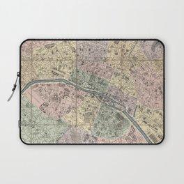 Vinage Map of Paris France (1878) Laptop Sleeve