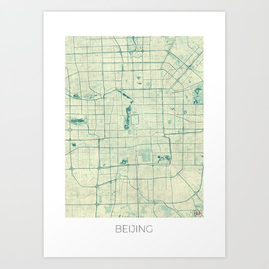Beijing Map Blue Vintage Art Print
