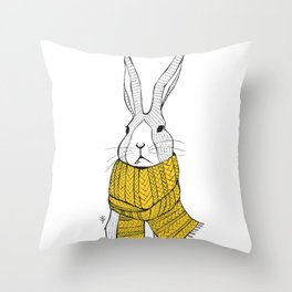 Rabbit in a yellow scarf Throw Pillow