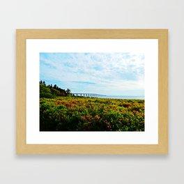 Wild Roses and the Big Bridge Framed Art Print