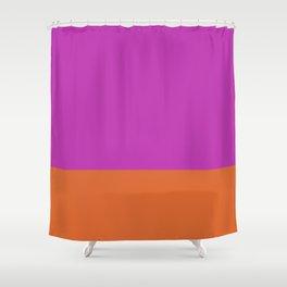 Fuschia Pink & Orange Color Block  Shower Curtain