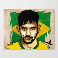 neymar Canvas Prints featuring Neymar Junior by King Arnanda