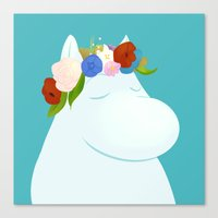 moomin Canvas Prints featuring Moomin by Patayoh