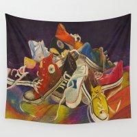 sneakers Wall Tapestries featuring Sneakers by Jocelyn Mendoza