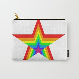 Bright Hypnotic Rainbow Pride Star Carry-All Pouch