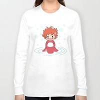 ponyo Long Sleeve T-shirts featuring Kokeshi Ponyo by Pendientera