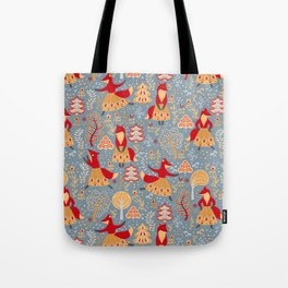 Dancing foxes in a fairy forest. Folk Art. Seamless pattern. Tote Bag