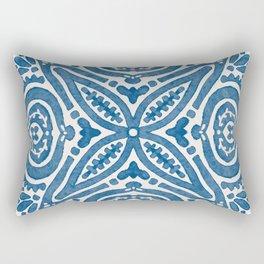Blue Folk Azulejo Tile No.5 Rectangular Pillow