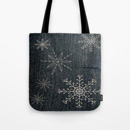 Denim Snowflake Tote Bag