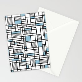 Map Lines Sky Blue Stationery Cards