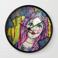 goth Wall Clocks featuring Goth Girl by Krazy Island Studios