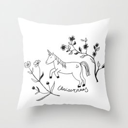 Unicorn and Flowers Throw Pillow