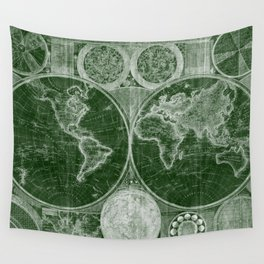 World Map (1794) Green & White Wall Tapestry