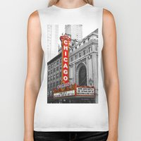 theater Biker Tanks featuring Chicago Theater by Chris Martin