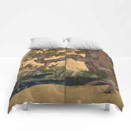 Japanese Azuchi-Momoyama-Period Eight-Panel Gold Leaf Screen - Cypress Tre Comforters