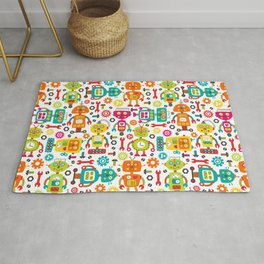 Retro Robot Red Orange Yellow Blue Pattern Rug