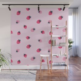 Lovely strawberries watercolor paint on pink background illustration pattern Wall Mural