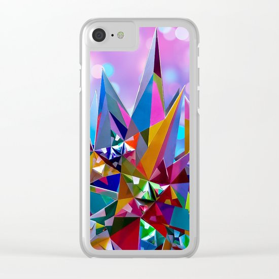 Festive colorful crystals Clear iPhone Case