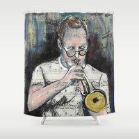 trumpet Shower Curtains featuring Jazz Trumpet 1 by Ed Rucker