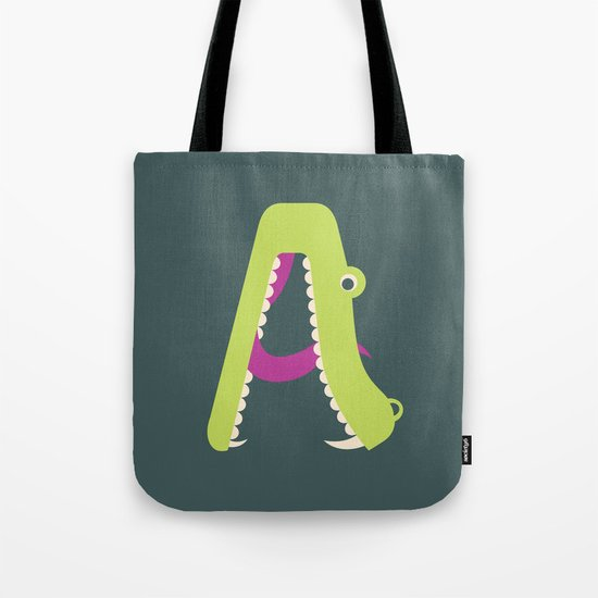 Letter A // Animal Alphabet // Alligator Monogram Tote Bag