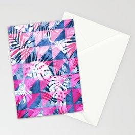 Abstract Hot Pink Geometric Tropical Design Stationery Cards