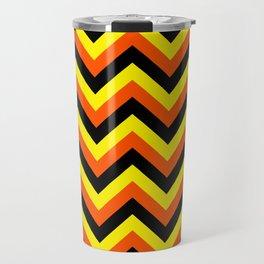 Yellow Orange and Black Chevrons Travel Mug
