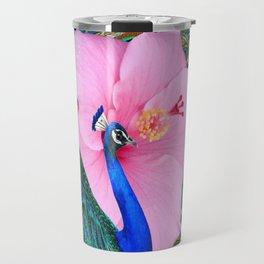 PINK HIBISCUS BLUE PEACOCK PATTERN ART Travel Mug