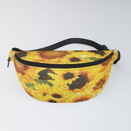 Wild yellow Sunflower Field Illustration Fanny Pack