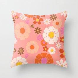 Groovy 60's Mod Flower Power Throw Pillow