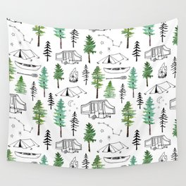 Camping and Trees Wall Tapestry