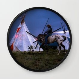 Cowboy on Horse With Teepee Wall Clock