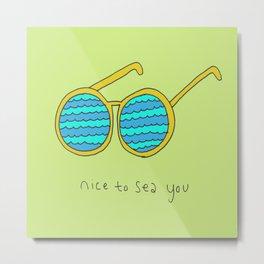 Nice to Sea You Retro Shades Green Metal Print