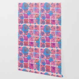 Drawing flowers in cubes Wallpaper