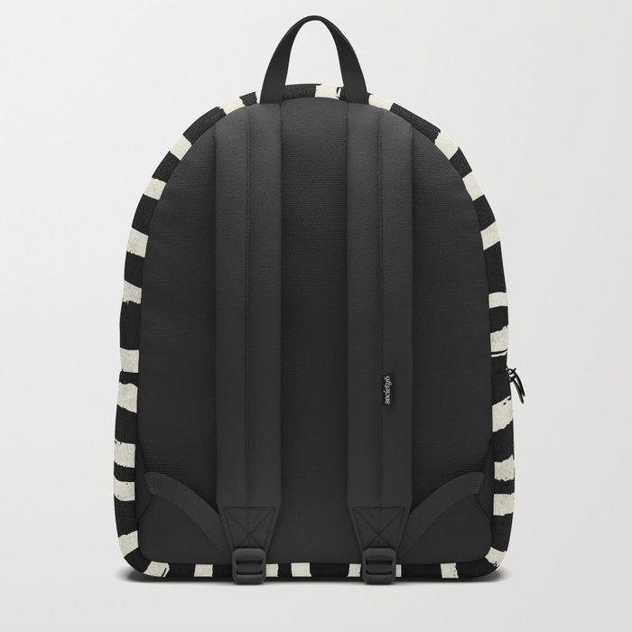 Hand Drawn Stripes on Black Backpack