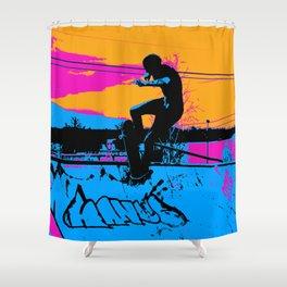 On Edge - Skateboarder Shower Curtain