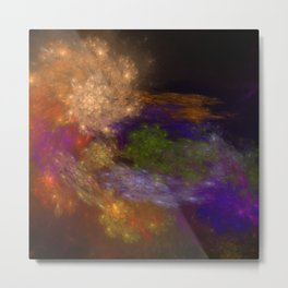 Space Nautilus   Colorful Multicolored Fractal Metal Print