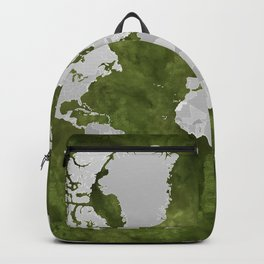 Moss green watercolor and grey world map with outlined countries Backpack