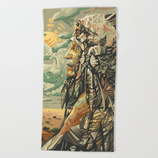 native american portrait Beach Towel