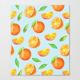 Watercolor Oranges Pattern 3 Canvas Print