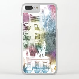 N.Y. collage color burst Clear iPhone Case