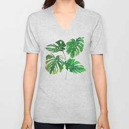 Watecolor Monstera Swiss Cheese Plant Transparent Unisex V-Neck