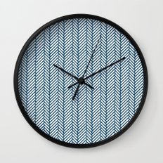 Herringbone Navy Wall Clock