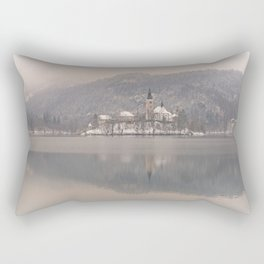 Bled Island On A Wintry Day Rectangular Pillow