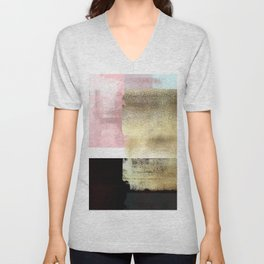 Minimal Abstract Soft Pink Landscape with Gold Unisex V-Neck