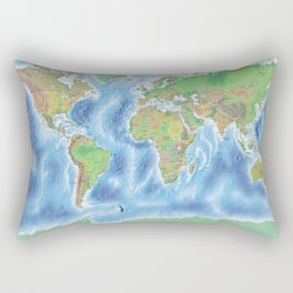 Physical world map with countries Rectangular Pillow