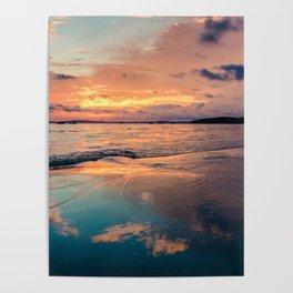 Beautiful Summer Beach Sunset Reflection Poster