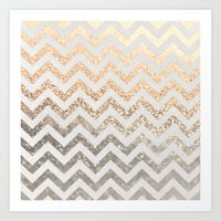 silver Art Prints featuring GOLD & SILVER  by Monika Strigel